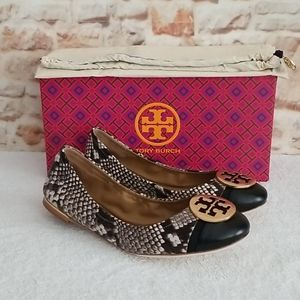 New Tory Burch Minnie Cap-Toe Snake-Print Flats